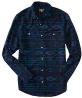 Aeropostale Mens Cape Juby Tribal Print Button Down Blue