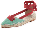 Castaner Colorblock Ankle-Wrap d'Orsay Espadrille, Red/Green