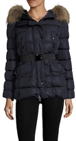 Moncler Clio Fur Trim Hood Belted Puffer Coat