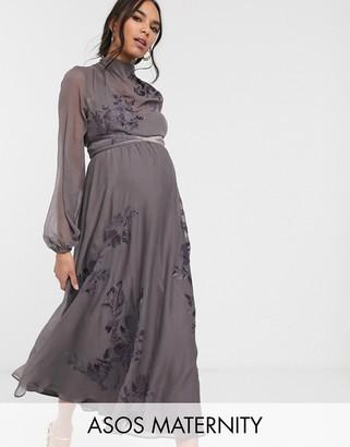 ASOS DESIGN Maternity high neck embroidered midi dress