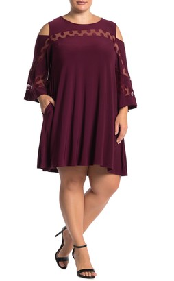 Nina Leonard Jewel Neck Cold Shoulder Dress (Plus Size)