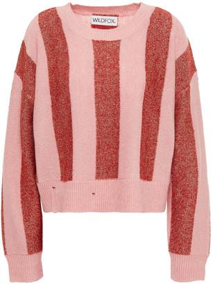Wildfox Couture Metallic Striped Intarsia-knit Sweater