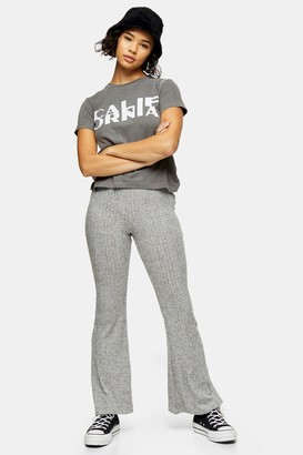 Topshop Womens Petite Grey Brushed Ribbed Marl Flare Trousers - Grey Marl