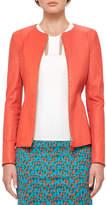 Akris Leather Zip-Front Jacket, Rojo