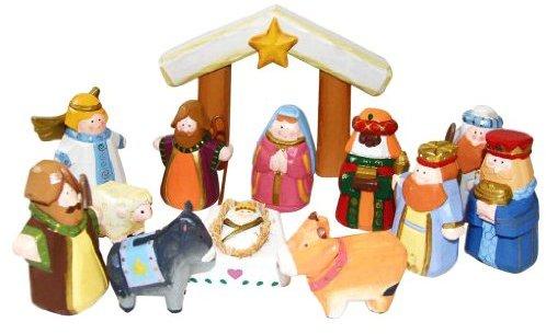"Kurt Adler J3764 Hand-Carved Wooden 12-Piece Child's First Nativity Set, 10-1/2"""