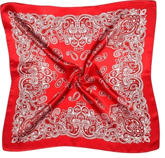 Bees Knees Fashion Red White Paisley Print Small Thick Silk Square Scarf