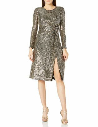 Taylor Dresses Women's Long Sleeve Sequin Side Knot Midi Dress
