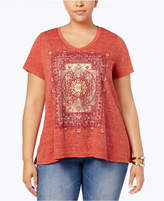 Style&Co. Style & Co Plus Size Graphic Swing T-Shirt, Created for Macy's
