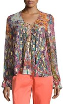 Etro Printed Lace-Up Peasant Blouse, Gold