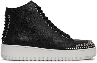 McQ Netil Lace-up Studded Pebbled-leather High-top Sneakers