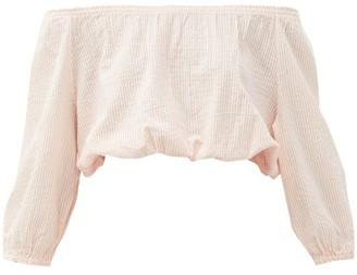 Melissa Odabash Danna Off-the-shoulder Striped Cotton Crop Top - Light Pink