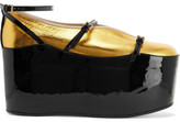 Gucci Convertible Patent And Metallic Textured-leather Platform Pumps - Gold