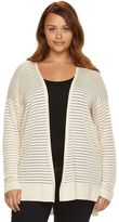 Apt. 9 Plus Size Novelty Stitch Open-Front Cardigan