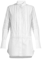 Burberry Lace-trimmed bib-front cotton shirtdress