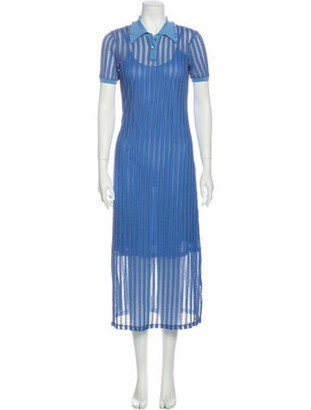 Opening Ceremony Striped Long Dress Blue
