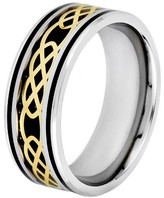 Celtic Crucible Men's Goldplated Steel Carbon Fiber and Knot Band - Black