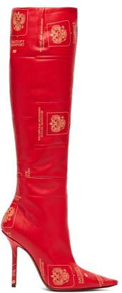 Vetements Passport-print Knee-high Leather Boots - Womens - Red