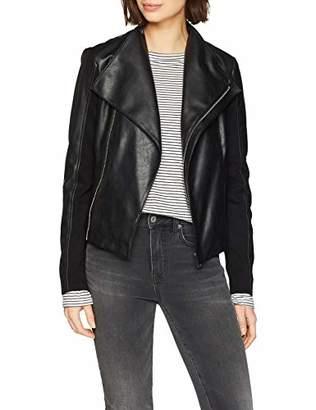 Trussardi Jeans Women's Motorcycle Jacket Slim Fit Soft Ecoleather Bomber, (Size: 44)