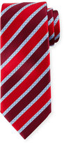Ermenegildo Zegna Satin-Striped Silk Tie, Red/Navy