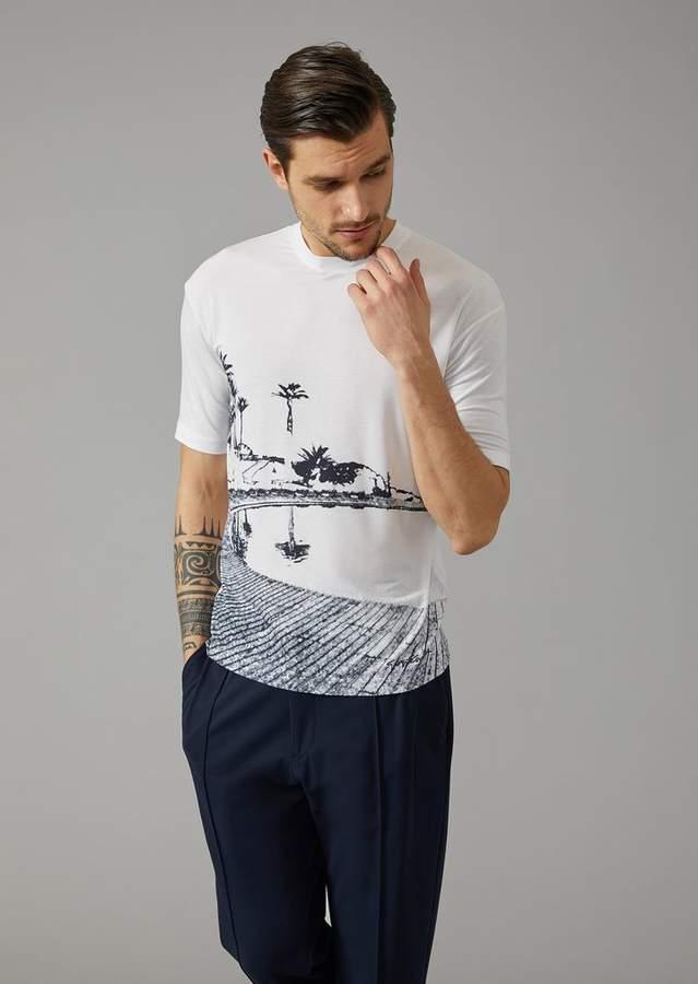 Giorgio Armani Stretch Jersey T-Shirt With Pantelleria Print