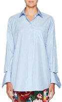 Valentino Button-Front Striped Poplin Blouse