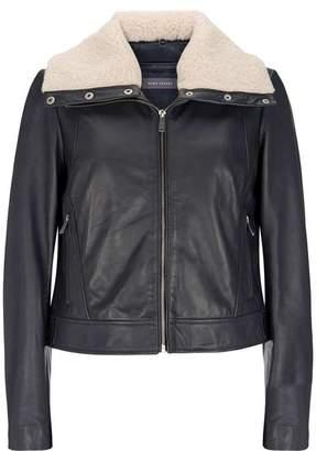 Mint Velvet Black Borg Leather Jacket