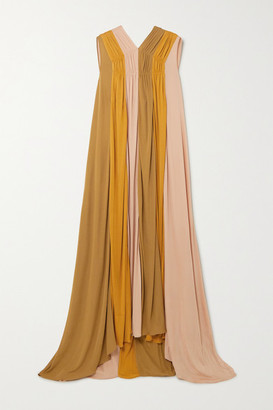 Roksanda Padma Gathered Color-block Jersey Gown - Gold