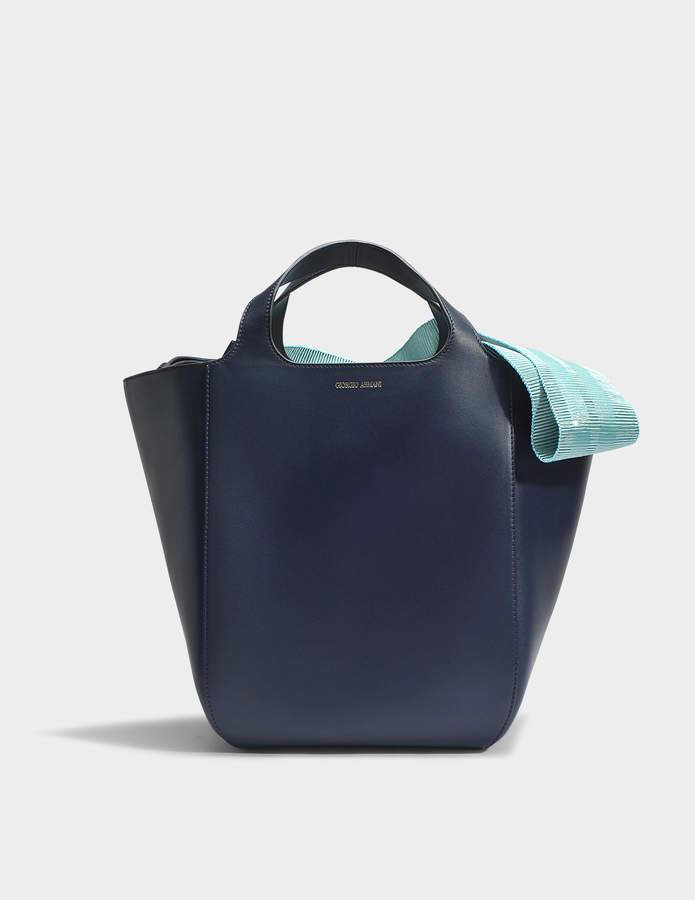 Giorgio Armani Shopper Bag in Navy and Turquoise Calfskin