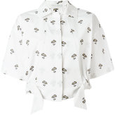 Victoria Beckham cropped daisy print shirt - women - Cotton/Mother of Pearl - 6