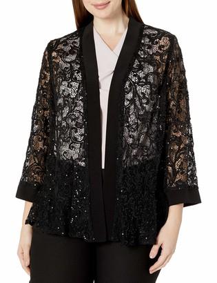 R & M Richards R&M Richards Women's 1 Piece Plus Size Laced Long Jacket with Sequins Black 1x