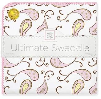 Swaddle Designs Ultimate Swaddle Blanket, Premium Cotton Flannel, Triplets Paisley, Pastel Pink