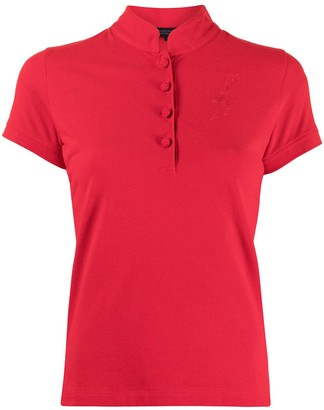 Shanghai Tang Tonal Bird Embroidered Polo Shirt