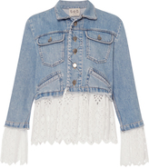 Sea Eyelet Layered Denim Jacket