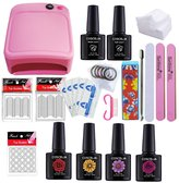 Coscelia Set with 36W UV Pink Nial Dryer with Base and Top Coat Basic Nail Manicure Starter Kit
