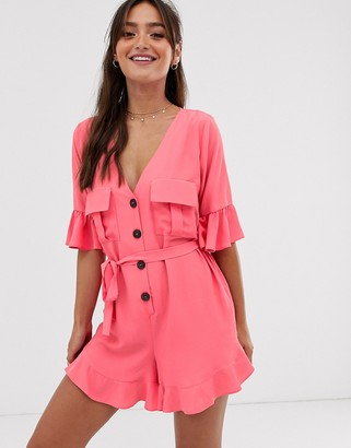 Asos Design DESIGN frill hem button front playsuit with tie waist and pockets-Red