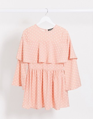 Lasula polka dot shift dress in pink