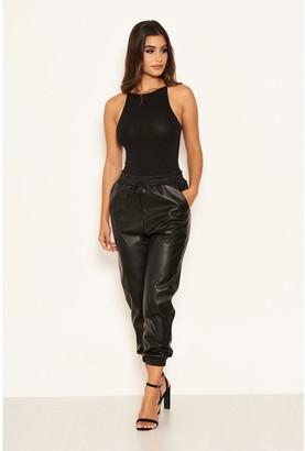 AX Paris Faux Leather Joggers - Black