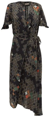 Preen Line Bessara Geometric-print Wrap Dress - Womens - Black Multi
