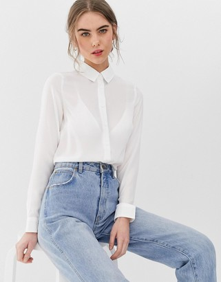 New Look Button Through Shirt in white