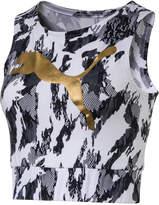 Puma Rebel dryCELL Printed Metallic-Logo Cropped Tank Top