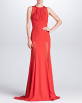 Elie Saab Sheer-Panel Evening Gown, Crimson