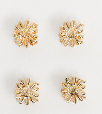 ASOS DESIGN pack of 4 daisy hair clips in gold tone