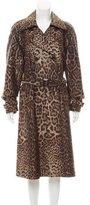 St. John Leopard Jacquard Trench Coat