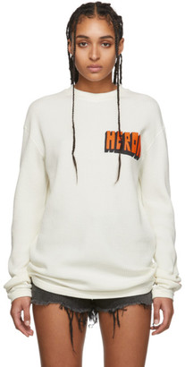 Heron Preston White Bold Logo Long Sleeve T-Shirt