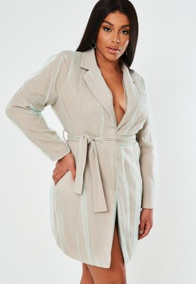 Missguided Plus Size Stone Organza Overlay Blazer Dress