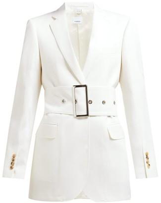 Burberry Single-breasted Belted Wool-poplin Blazer - White