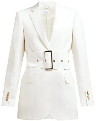 Burberry Single-breasted Belted Wool-poplin Blazer - Womens - White