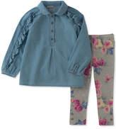 Calvin Klein 2-Pc. Ruffled Denim Tunic & Floral-Print Leggings Set, Little Girls (4-6X)