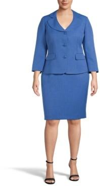 Le Suit Plus Size Jacquard Skirt Suit