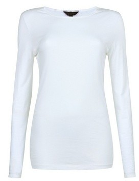 Dorothy Perkins Womens Tall White Long Sleeve Cotton Top, White